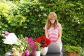 Flower shop owner using laptop — Stock Photo