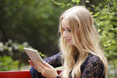 Student with digital tablet — Stockfoto