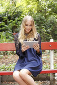 Student with digital tablet — Stock Photo