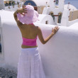 Woman in Santorini — Foto Stock