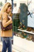 Ventana de mujer las compras de zapatos — Foto de Stock