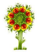 Flower tree Ukraine tribal ethnic style vector — Stock Vector