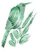 Primavera de passarinho, verde — Vetor de Stock