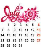 календарь июля 2014 — Cтоковый вектор