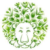 Leão de ornamento decorativo floral — Vetor de Stock