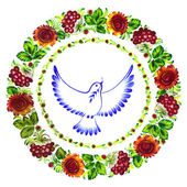 Pigeon peace decorative circlet of flowers — Stock Vector