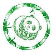 Цветочный декоративный орнамент панда — Cтоковый вектор
