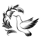 Koliber ozdobny sylwetka w locie — Wektor stockowy