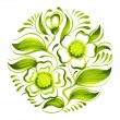 Decorative circle branch of green tea with flowers and leaves — Stock Vector #43101725