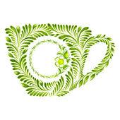 Decorative ornament teacup — Vettoriale Stock