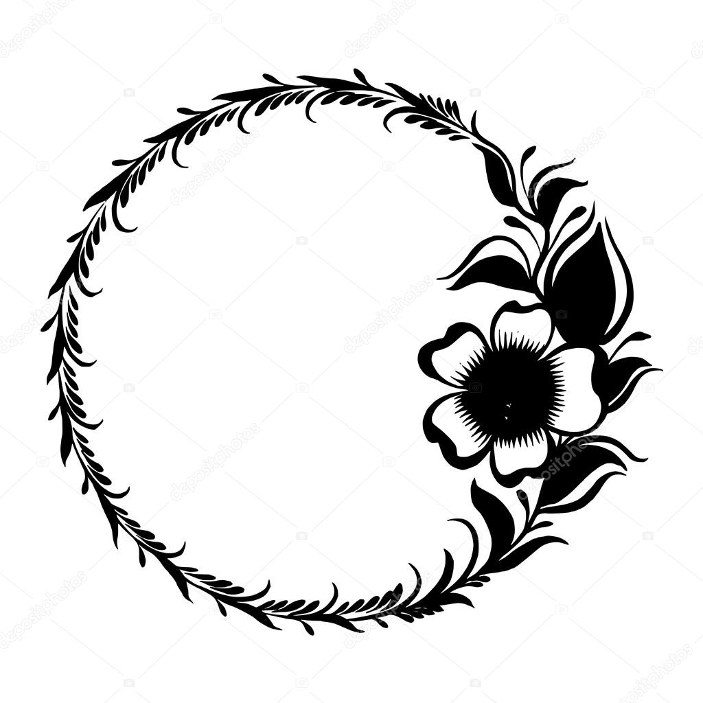 Black Flower Silhouette Stock Vector Illustration Of: Silhouette Frame Branch Of Tea With Flowers And Leaves