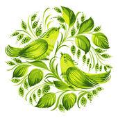 Decorative circle green birds of paradise — Stock Vector