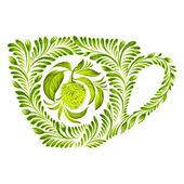 Decorative ornament teacup — Stock Vector