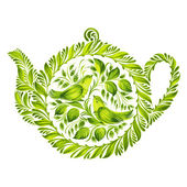 Decorative ornament herbal teapot — Stockvector