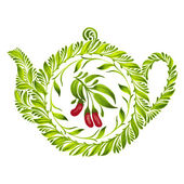 Decorative ornament teapot — Stockvector
