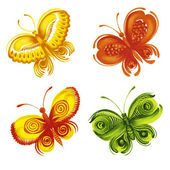 Set of decorative ornament butterflies — Stock Vector