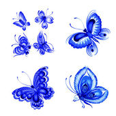 Set of decorative ornament blue butterflies — Stock Vector