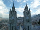The Basilica of the National Vow (Spanish: Basílica del Voto Nacional), Quito, Ecuador. It is sometimes also called the Catedral Consagración de Jesús or the Basílica de San Juan. — Stok fotoğraf