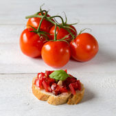 Bruschetta with tomato — Stock Photo
