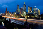 Melbourne Skyline Towards Fed Square — Stock Photo