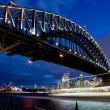 Sydney harbour bridge i skymningen — Stockfoto