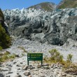 Stock Photo: Fox Glacier Warning Sign
