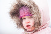 A Toddler Braves The Cold and Snow — Stock Photo