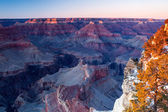 Grand Canyon in winter at dusk — Foto Stock