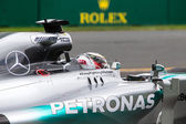 Mercedes F1 in action at the Australian Grand Prix — Stok fotoğraf