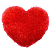 Fluffy heart shape Valentines Day pillow — Stock Photo
