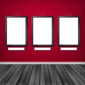 Bir duvarda üç boş çerçeve — Stok fotoğraf