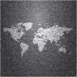 World map on jeans background texture. Vector. — Stock vektor
