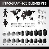 Black and white infographics set. Vector icons. — Stock Vector
