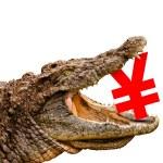 Yen symbol eaten by crocodile for sale, crash or discount. — Stock Photo