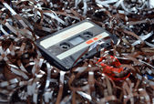 Cassette and tape background — Stock Photo