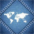 World map on jeans background texture. Vector. — Stock Vector #27362503