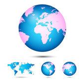 World map. Globe. — Stock Vector