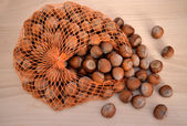 Hazelnuts on a wooden table and net — Stock Photo