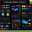 Colorful infographics set on black background and icons set. — Stock Vector