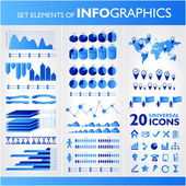 Blue infographics. Universal vector icons set. Statistic. — Stock Vector