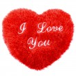 Stock Photo: Fluffy I Love You heart shape Valentines Day pillow