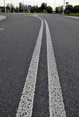 Asphalt road with white double solid line. Transportation backgr — Stock Photo