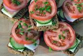 Fullkorn råg bröd sandwich med tomat, gurka, rädisor och c — Stockfoto