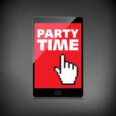 Parole di partito tempo visualizzare sullo schermo smartphone di alta qualità. — Vettoriale Stock