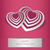 Love card Happy Valentines Day concept. Heart shape with shadow. — Stock Vector