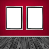 Blank vertical advertising billboard. Empty frame on wall. — Stock Photo