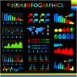Colorful infographics set on black background and icons set. — Stock Vector #39588393