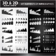 3D and 2D Black&White Set elements od Infographics — Stock Vector
