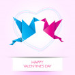 Two kissing origami birds. Love card concept Happy Valentines Da — Stock Vector