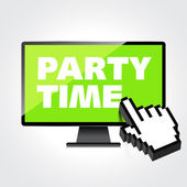Party time words display on High-quality computer display, monit — Stock Vector